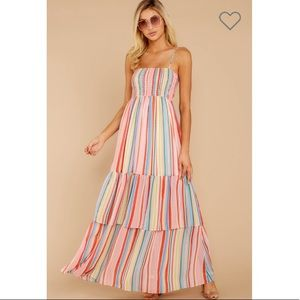 Red Dress Boutique XS Rainbow Stripe Maxi Dress